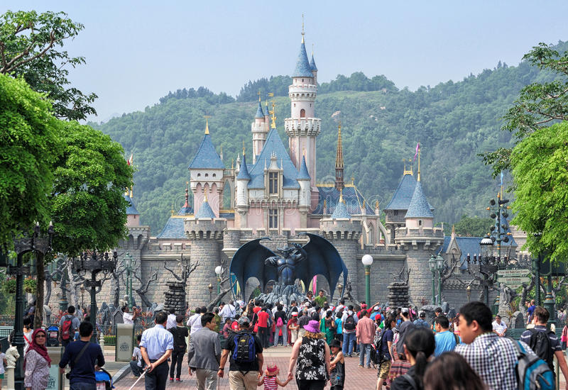 Disneyland slott, Hong Kong royaltyfri fotografi