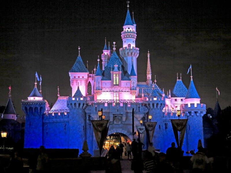 Disneyland slott på natten royaltyfria foton