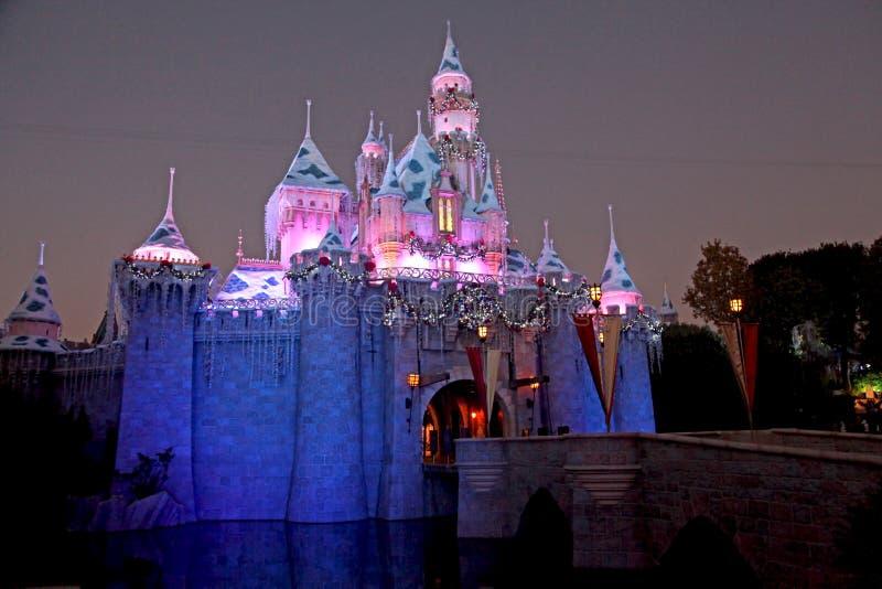 Disneyland slott på natten arkivfoton