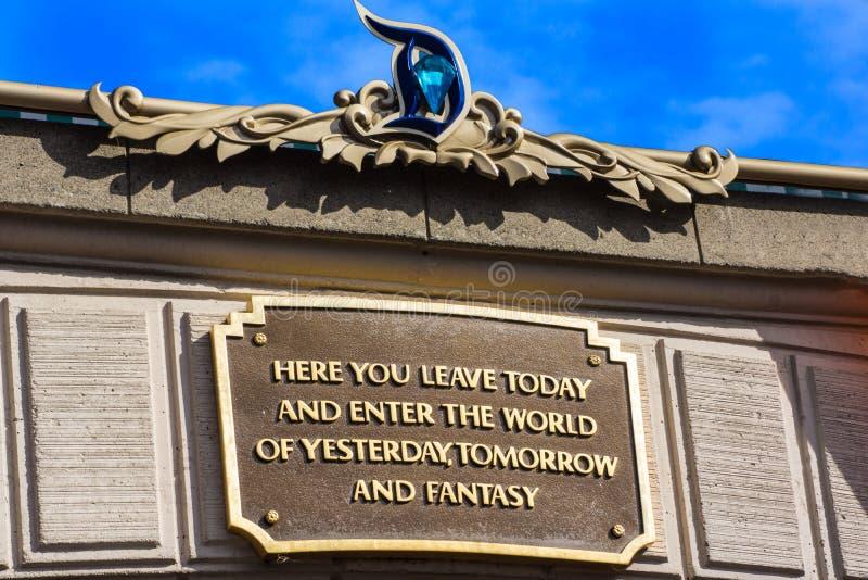 Disneyland wejścia plakieta zdjęcie stock