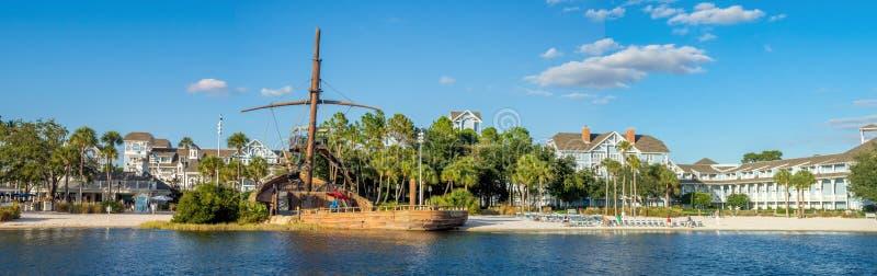Disneys Beach Club. Beach and amenities at Disneys Beach Club resort at Bay Lake near Epcot Resorts Boulevard on November 4, 2014 in Orlando, USA. Disney World royalty free stock photos