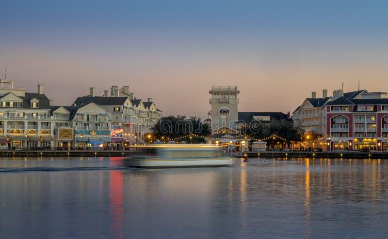 Disneys Boardwalk. At Bay Lake near Epcot Resorts Boulevard on November 4, 2014 in Orlando, USA. Disney World is visited by 52.5 million people annually stock photo