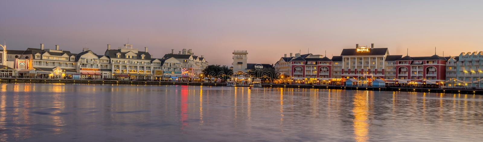 Disneys Boardwalk. At Bay Lake near Epcot Resorts Boulevard in Orlando, USA. Disney World is visited by 52.5 million people annually royalty free stock images