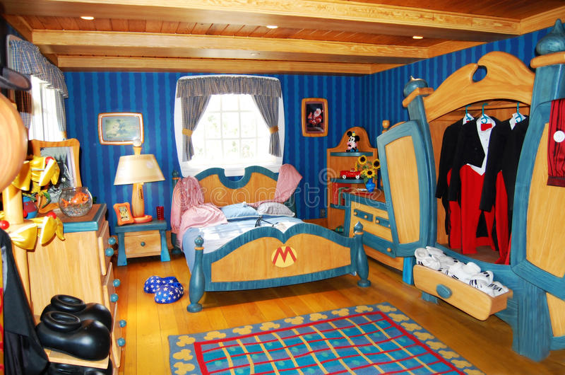 Disneyworld的米老鼠的卧室 免版税库存照片