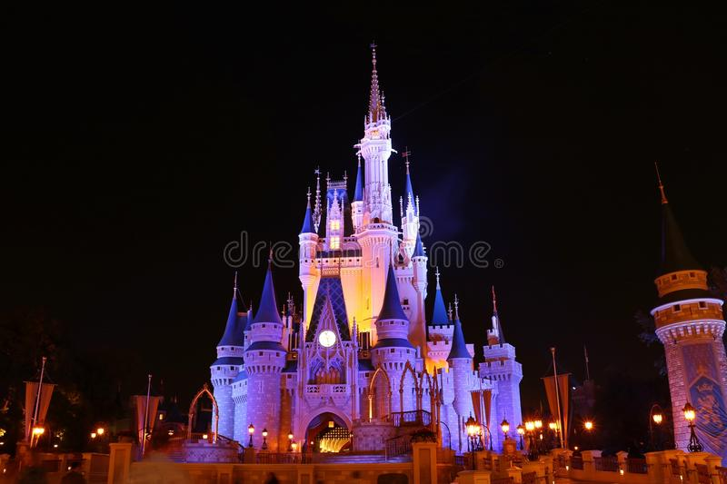 Disneyworld Magic Kingdom Castle. Illuminated Cinderella`s Castle at Disneyworld at night