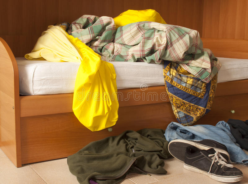 Disorderly: Clothes on floor royalty free stock images