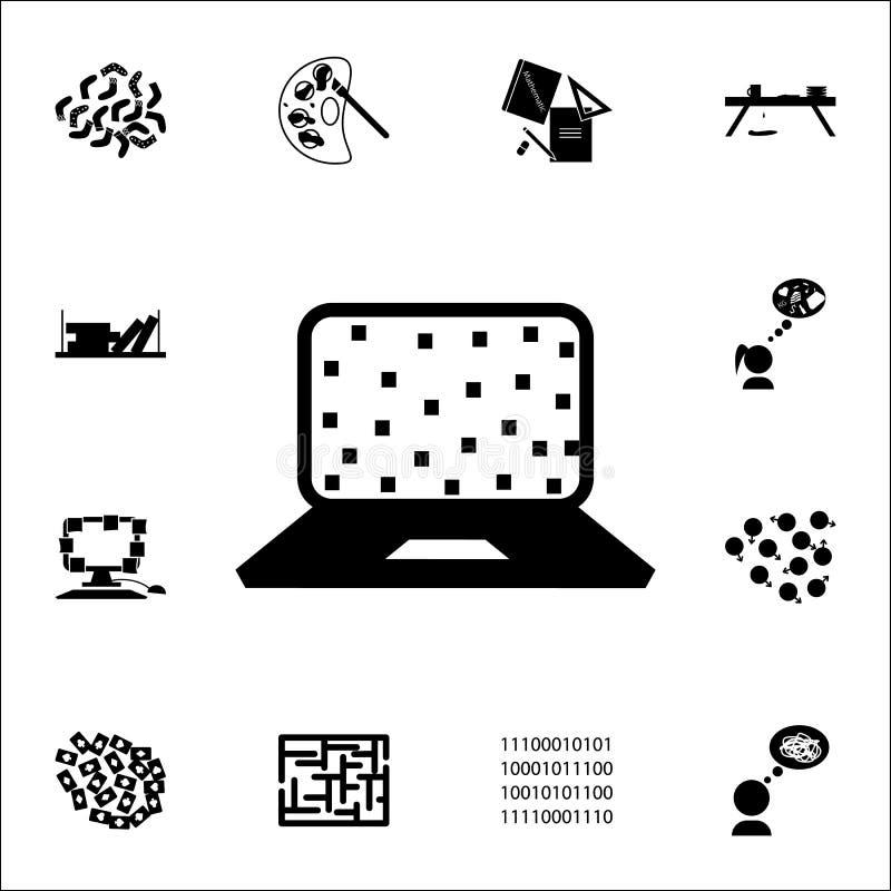 Disordine nell'icona del desktop computer insieme universale delle icone di caos per il web ed il cellulare illustrazione di stock
