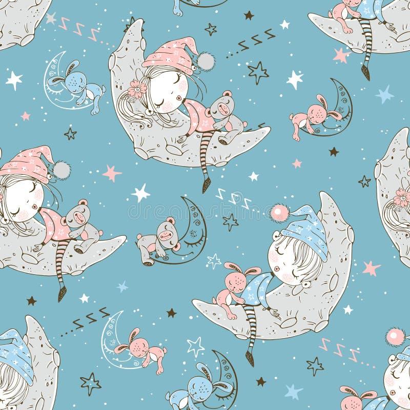Disordine senza fine con bambini carini in pigiama che dormono nei mesi lunari Vettore royalty illustrazione gratis