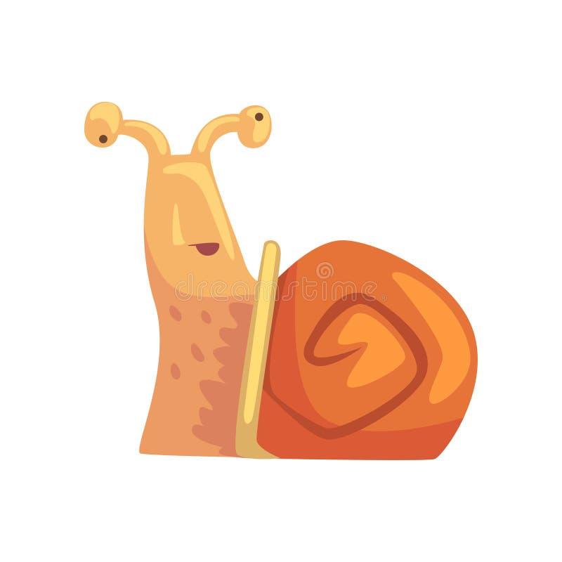 Disoriented śmieszny ślimaczek, śliczna komiczna mollusk charakteru kreskówki wektoru ilustracja royalty ilustracja