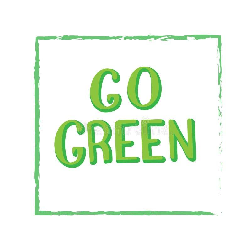 Disparaissent l'affiche de inscription simple verte Illustration fabriqu?e ? la main Sauf le concept de plan?te illustration libre de droits
