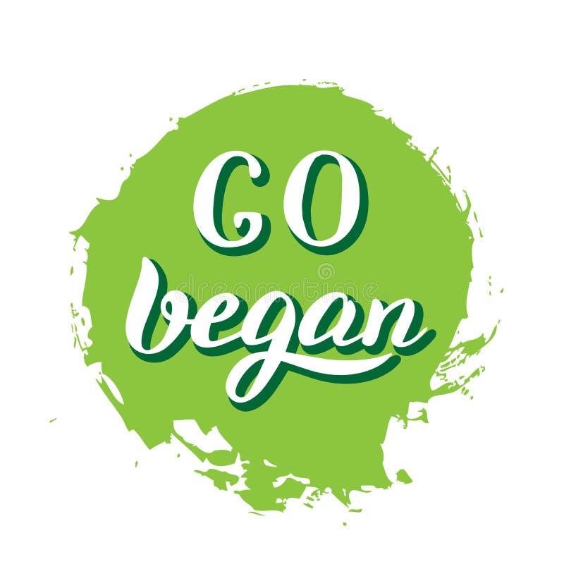Disparaissent l'autocollant de vegan Calibre moderne de conception d'inscription Emblème végétarien de produit illustration stock