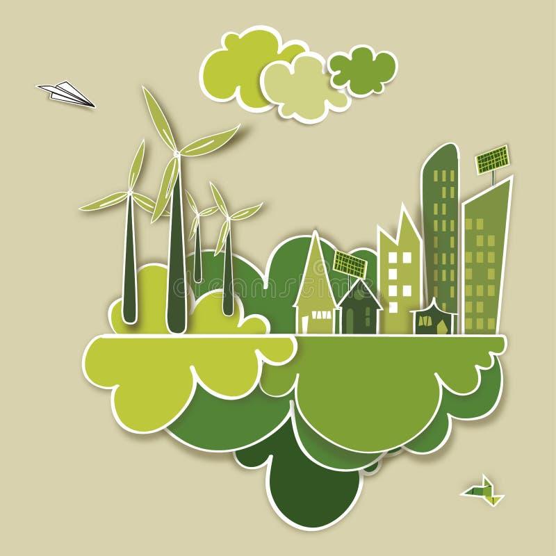Disparaissent le concept vert de ville illustration de vecteur