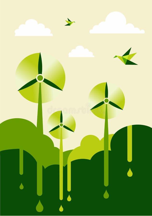 Disparaissent le stationnement vert de vent-turbine illustration stock