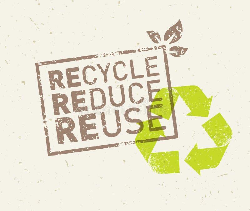 Disparaissent le vert réutilisent réduisent la réutilisation Concept viable de vecteur d'Eco sur le fond de papier réutilisé illustration libre de droits