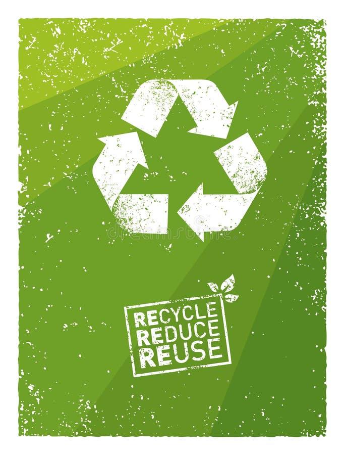 Disparaissent le vert réutilisent réduisent la réutilisation Concept viable de vecteur d'Eco sur le fond de papier réutilisé illustration de vecteur