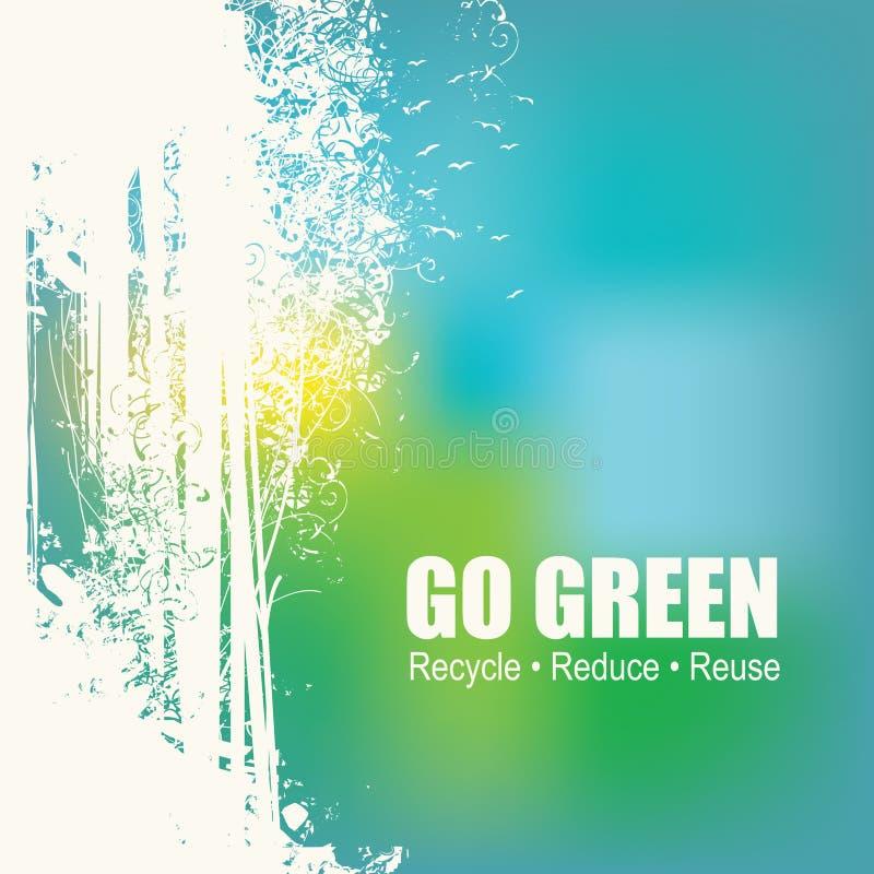 Disparaissent le vert réutilisent réduisent le concept d'affiche d'Eco de réutilisation illustration de vecteur