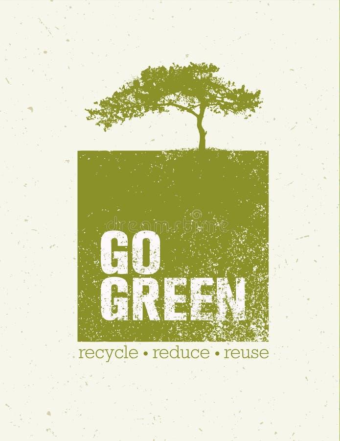Disparaissent le vert réutilisent réduisent le concept d'affiche d'Eco de réutilisation Illustration organique créative de vecteu illustration libre de droits