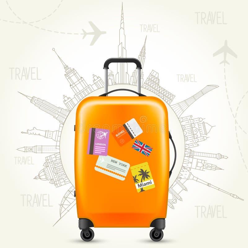 Dispare alrededor del cartel, de la maleta y del mundo del World Travel de la tierra ilustración del vector