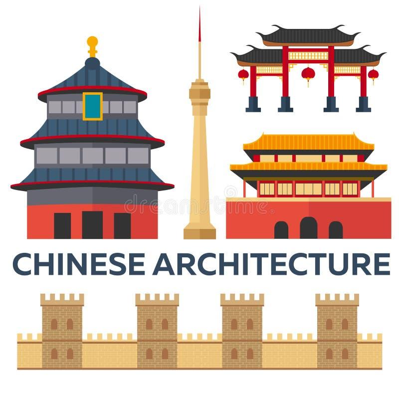 Dispare a China Arquitectura china Vacaciones Viaje por carretera Turismo Viaje Ciudad de Pekín del ejemplo que viaja Desi plano  stock de ilustración