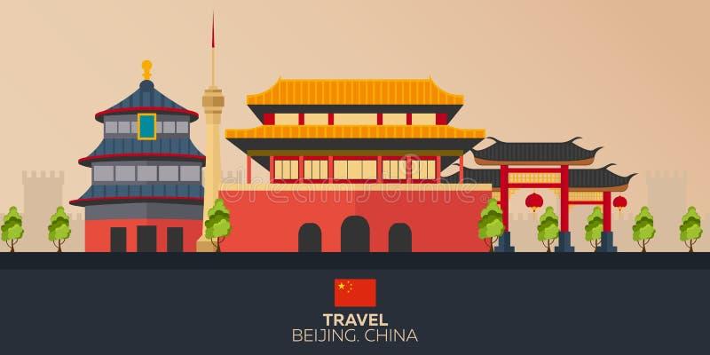 Dispare a China Vacaciones Viaje por carretera Turismo Viaje Ciudad de Pekín del ejemplo que viaja Diseño plano moderno China Cie libre illustration