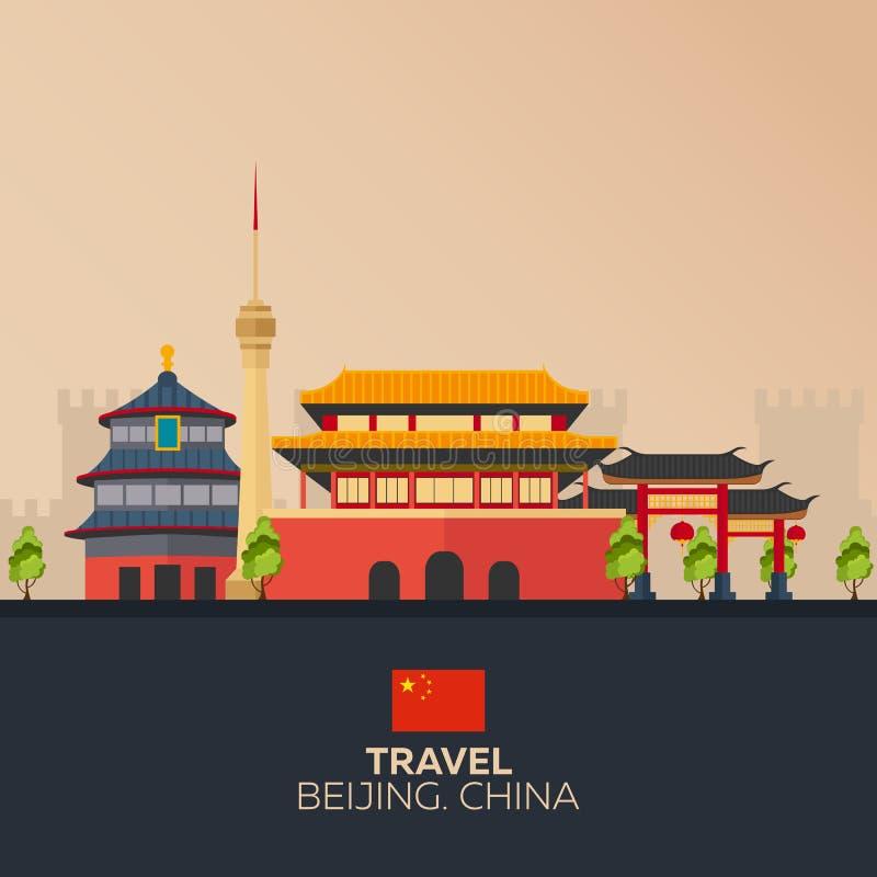 Dispare a China Vacaciones Viaje por carretera Turismo Viaje Ciudad de Pekín del ejemplo que viaja Diseño plano moderno China Cie ilustración del vector