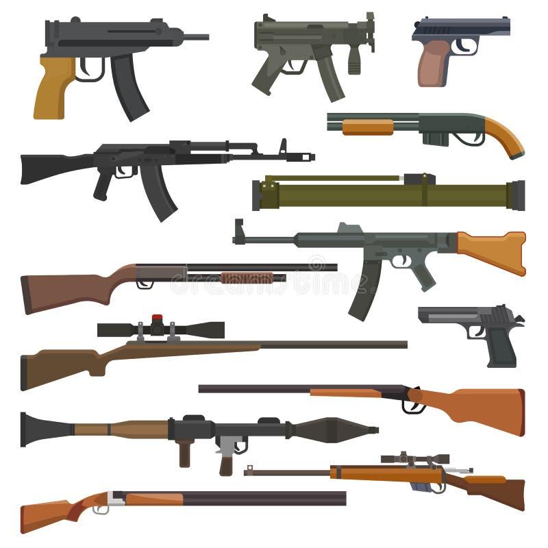 Dispare contra el arma del vector o la arma de mano militar del ejército y guerree arma de fuego automática o rifle con el sistem stock de ilustración