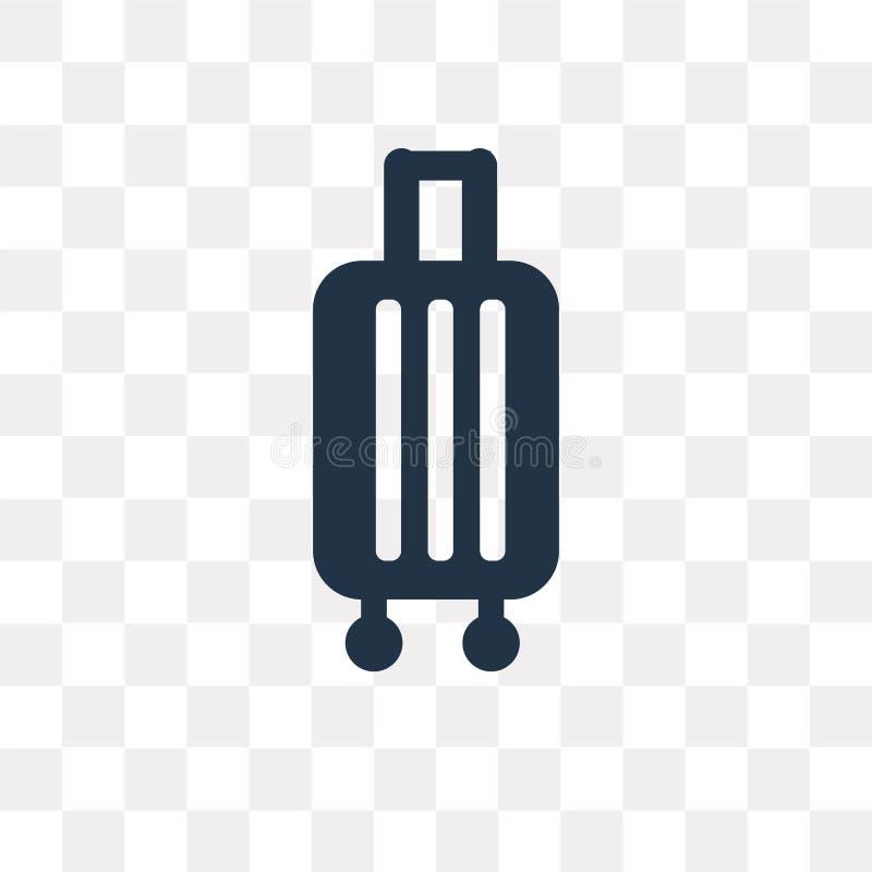 Dispare el icono del vector del equipaje aislado en el fondo transparente, tri stock de ilustración