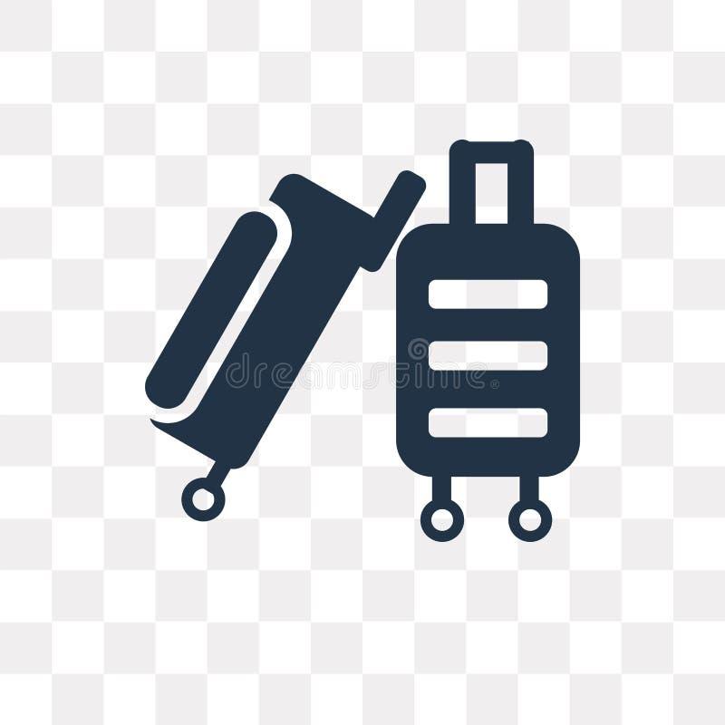 Dispare el icono del vector del equipaje aislado en el fondo transparente, tri ilustración del vector