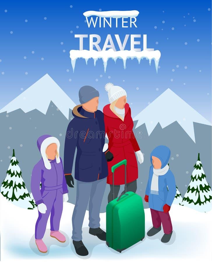 Dispare en vacaciones del invierno en las montañas Concepto del viaje del invierno Viaje de la Navidad Viaje al mundo Bandera, vi ilustración del vector