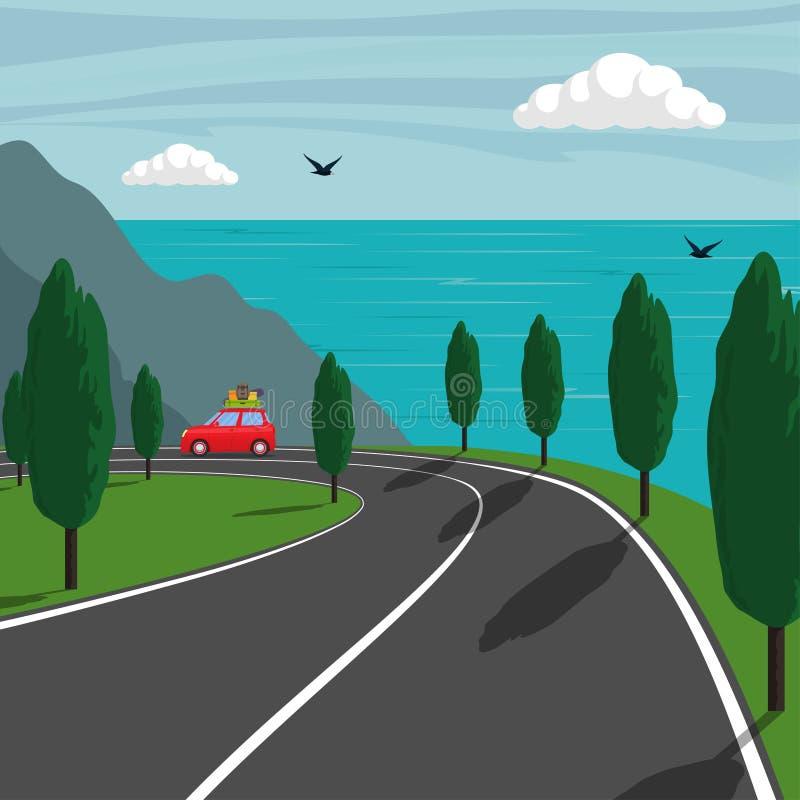 Dispare a lo largo de la orilla montañosa del mar El pequeño coche lindo monta en el camino de la montaña y el mar en fondo Ilust stock de ilustración