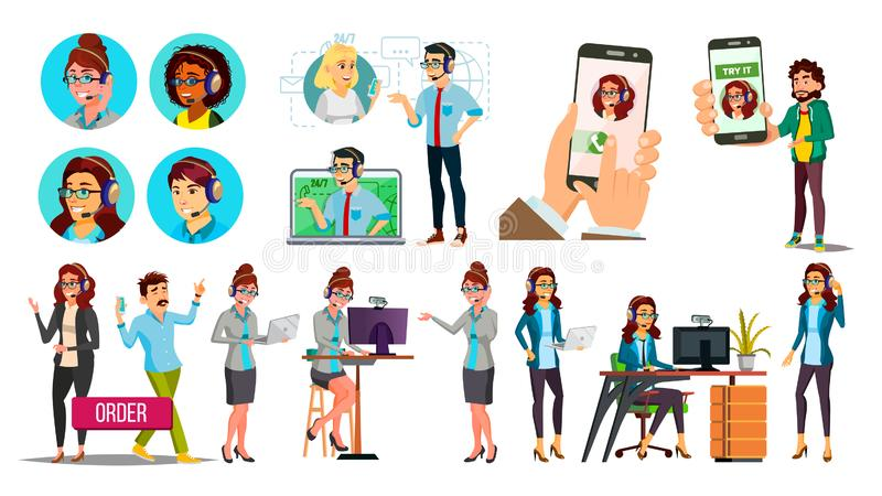 Dispatchers, Client Support Team Vector Characters Set stock illustration