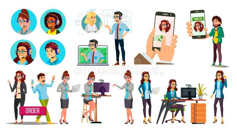 Dispatchers klientservice Team Vector Characters Set stock illustrationer