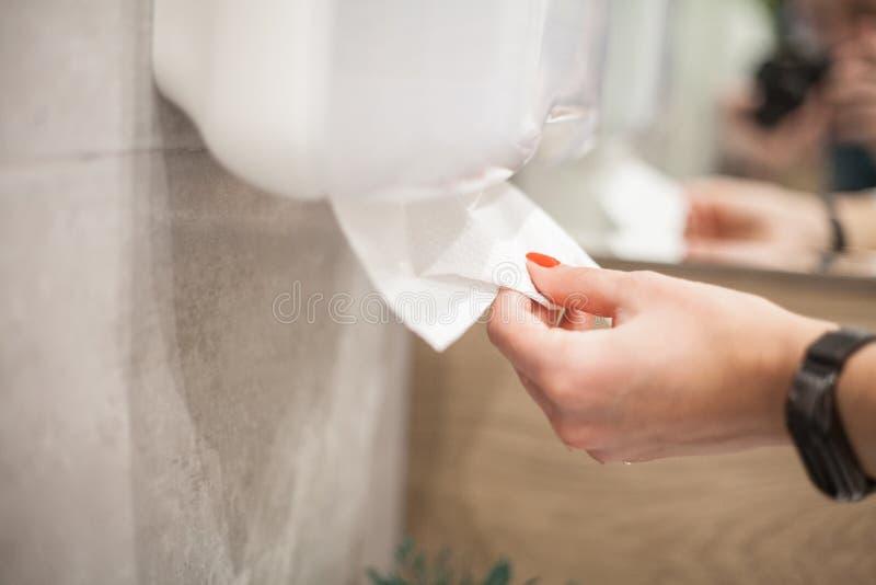 Dispensador de la toalla de papel La mano de la mujer toma la toalla de papel en cuarto de baño foto de archivo libre de regalías