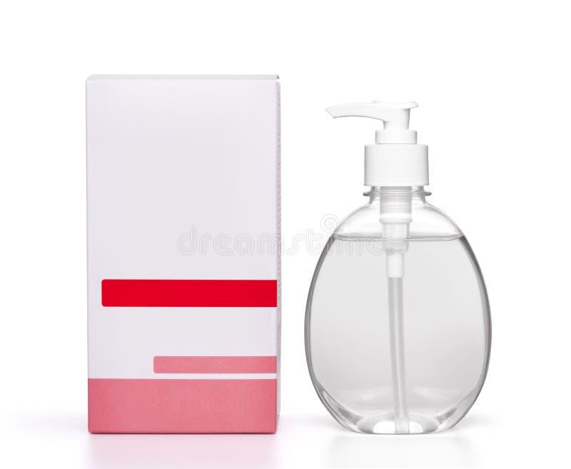 Dispensador del jabón del desinfectante de la mano en blanco fotografía de archivo libre de regalías