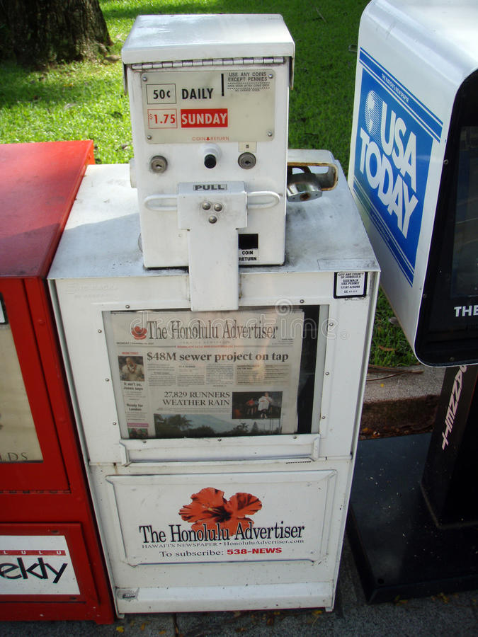 Dispensador del periódico para el publicista de Honolulu imagen de archivo libre de regalías