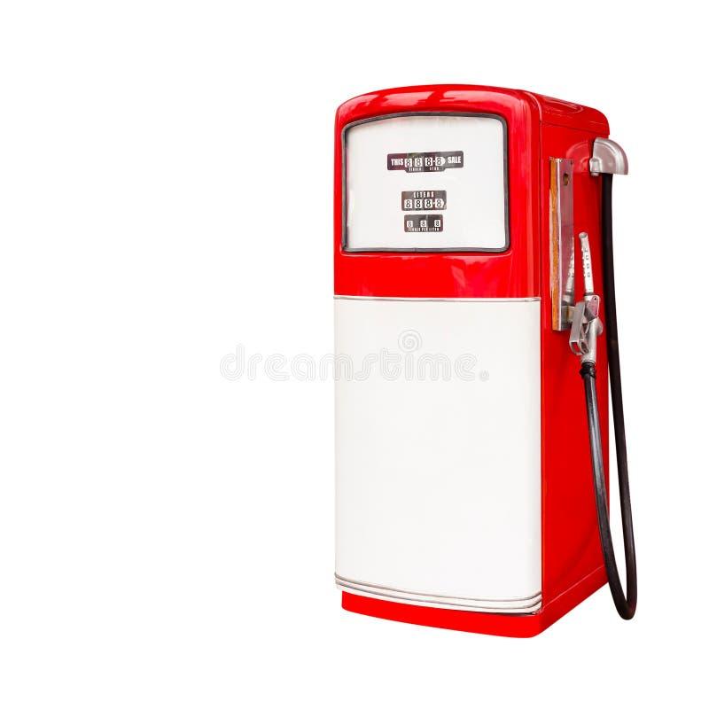 Dispensador retro del combustible aislado en blanco imágenes de archivo libres de regalías
