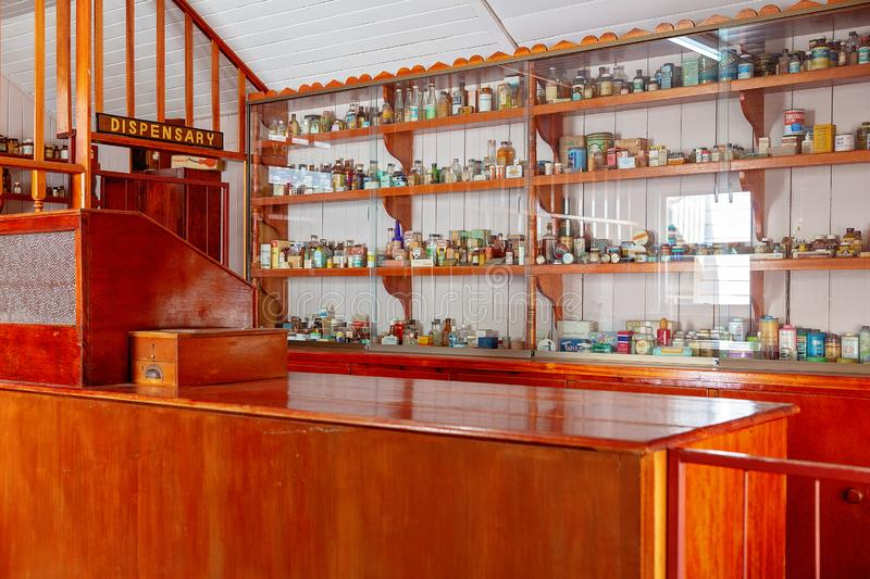 Dispensary At Miles Museum And Historical Village. MILES, QUEENSLAND, AUSTRALIA - January 25th 2019: Miles Historical Village And Museum dispensary stock photography