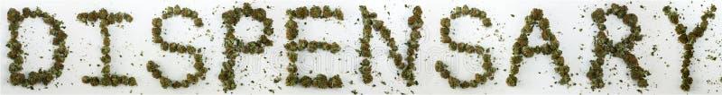 Dispensary Spelled With Marijuana royalty free stock images