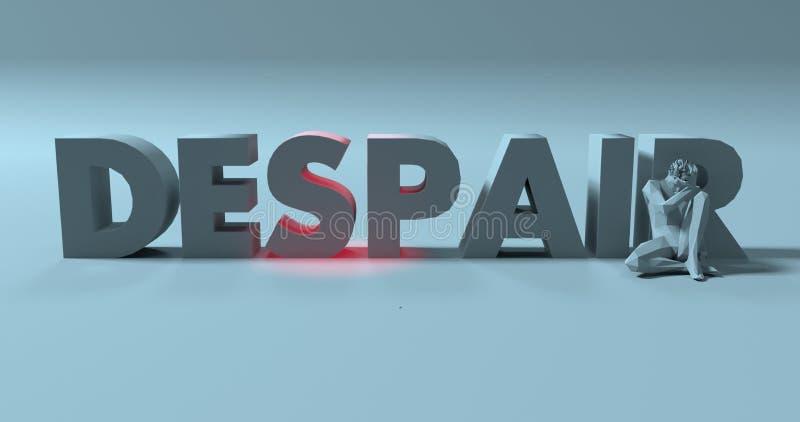Disperazione - 3d rendono il segno del testo, vicino all'uomo sollecitato triste, illustrati royalty illustrazione gratis