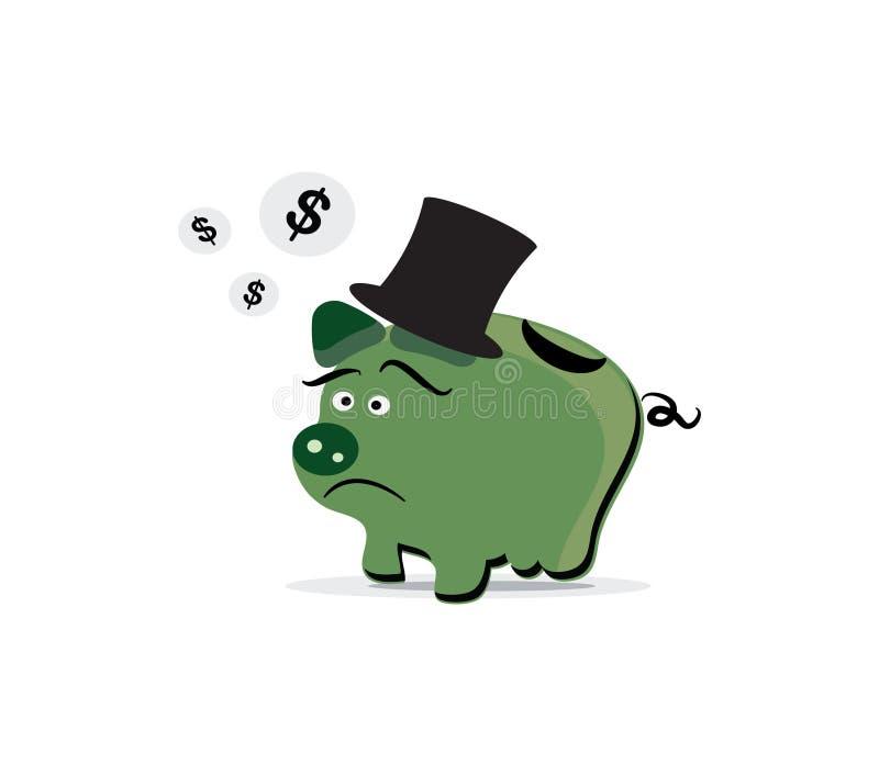 Disperazione e crisi finanziarie del porcellino salvadanaio illustrazione vettoriale