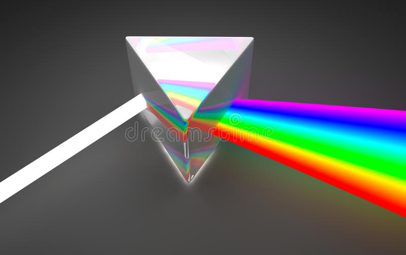 Dispersão clara do espectro de prisma ilustração do vetor