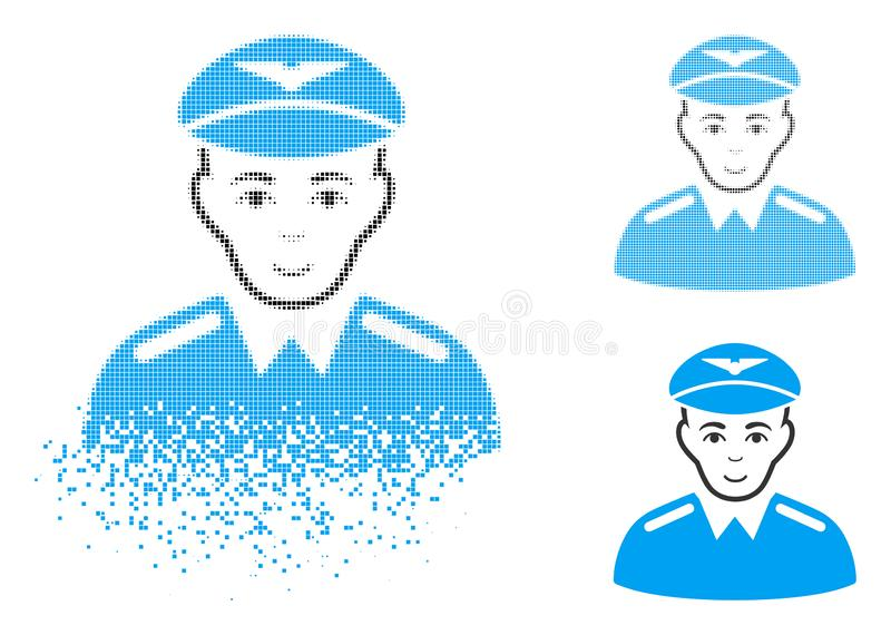 Dispersed Dotted Halftone Aviator Icon with Face royalty free illustration