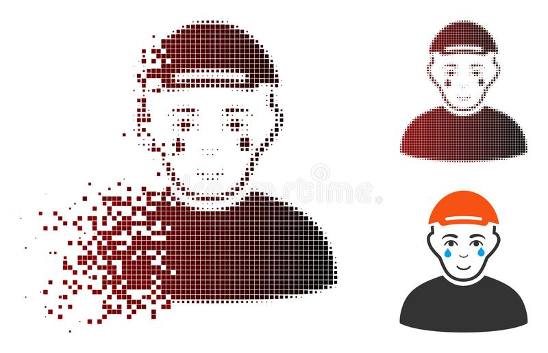 Dispersed Dotted Halftone Crying Man Icon royalty free illustration