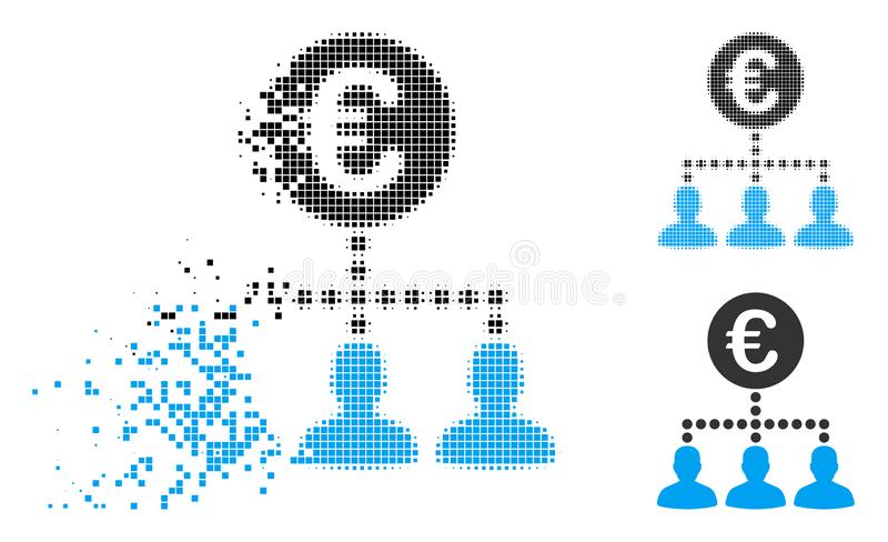 Dispersed Dotted Halftone Euro Payment Clients Icon stock illustration