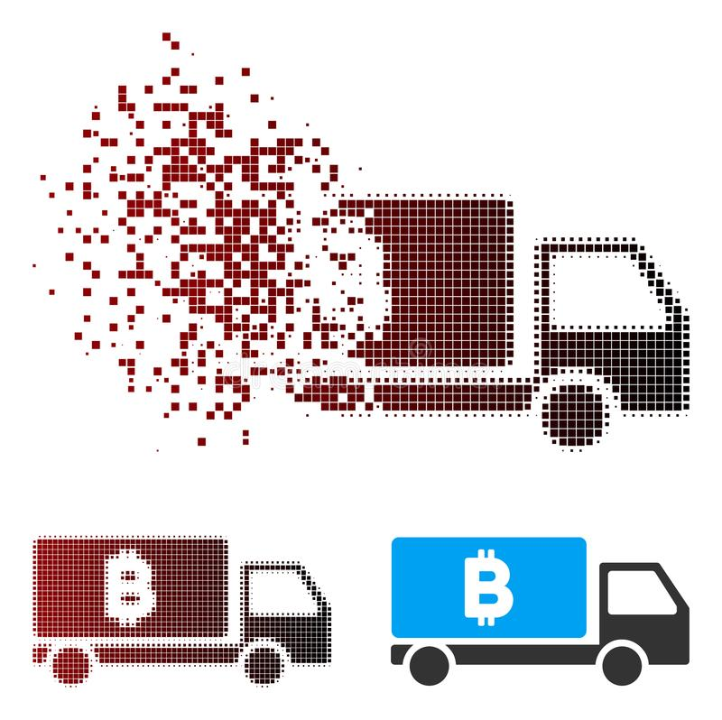 Dispersed Pixel Halftone Bitcoin Delivery Car Icon. Vector Bitcoin delivery car icon in dispersed, dotted halftone and undamaged entire versions. Disappearing vector illustration
