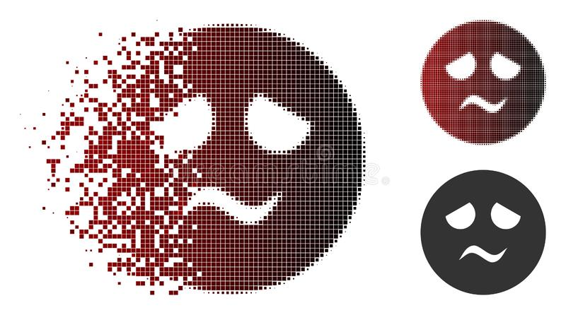 Dispersed Pixel Halftone Trouble Smiley Icon. Trouble smiley icon in dispersed, dotted halftone and undamaged whole versions. Points are combined into vector stock illustration