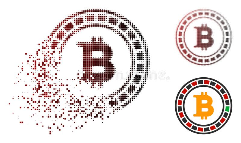 Dispersed Pixelated Halftone Bitcoin Casino Roulette Icon. Bitcoin casino roulette icon in sparkle, pixelated halftone and undamaged solid variants. Pixels are vector illustration