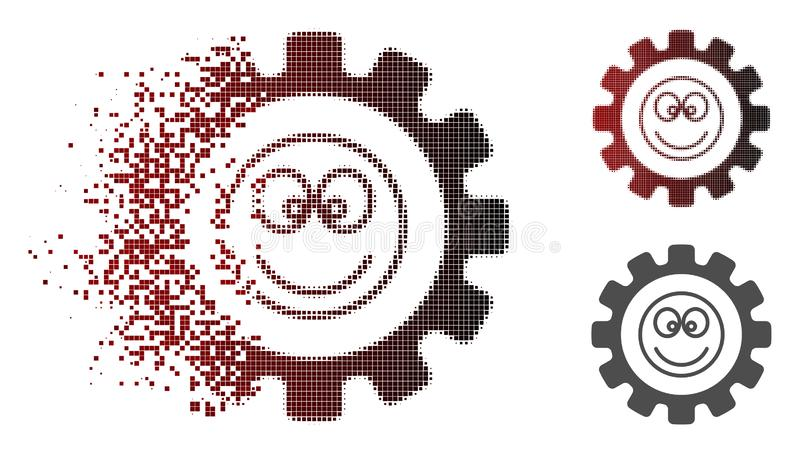 Dispersed Pixelated Halftone Gear Smile Smiley Icon. Gear smile smiley icon in fractured, dotted halftone and undamaged entire variants. Cells are combined into royalty free illustration