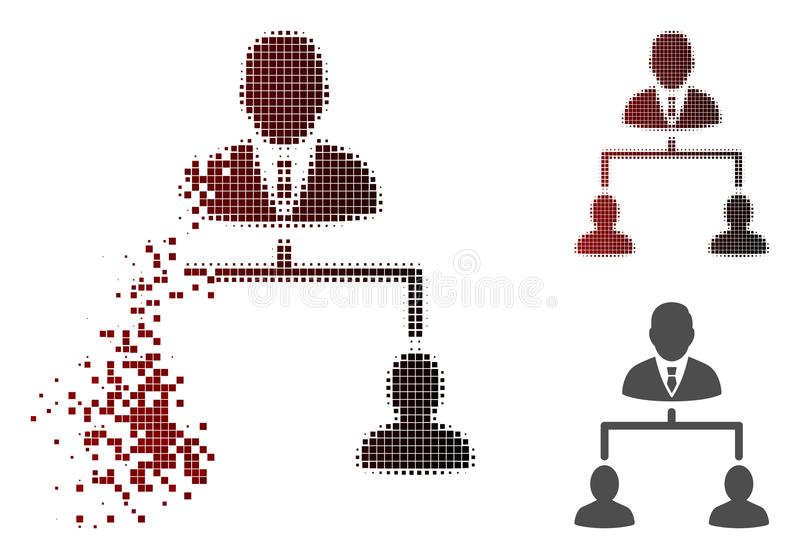 Dispersed Pixelated Halftone Human Hierarchy Icon. Human hierarchy icon in dissolved, dotted halftone and undamaged solid versions. Particles are combined into vector illustration