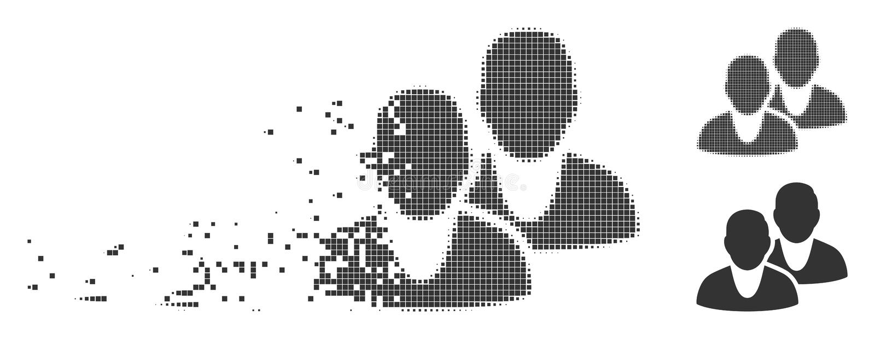 Users Broken Pixel Halftone Icon royalty free illustration